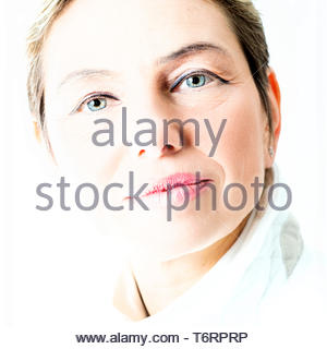 Tilburg, Netherlands. Studio portrait of a female, caucasian spiritual leader, acting as an intermediate between Angels and Humans. - Stock Image