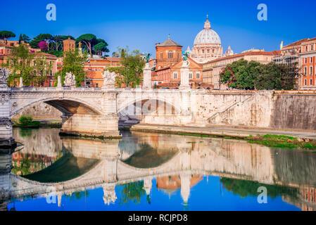 Rome, Italy. Saint Peters Basilica in night view, Vatican City, landmark of Roma, Italian capital city. - Stock Image