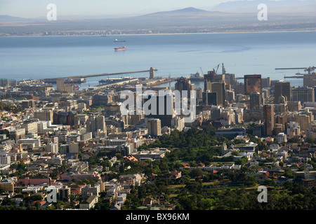 Cape Town from the Base of Table Mountain, Western Cape, South Africa - Stock Image
