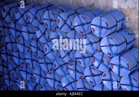 Blue dishes china seller Vietnam - Stock Image
