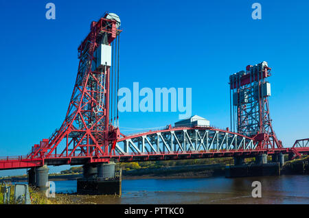 Newport Bridge over the river Tees between  Middlesbrough and Stockton Grade 2 listed the first large vertical-lift bridge in Britain - Stock Image