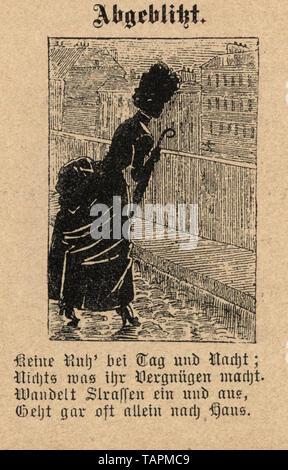 Victorian Cartoon of woman on a dark street, 1880s, German 19th Century - Stock Image
