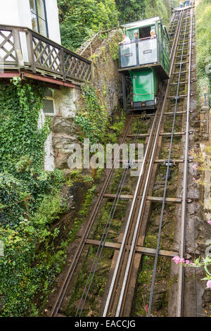 The Lynton and Lynmouth cliff funicular railway - Stock Image