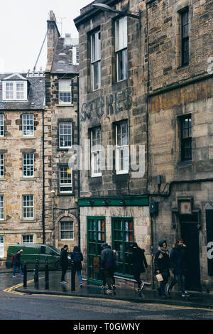 EDINBURGH, SCOTLAND - FEBRUARY 9, 2019 -  Candlemaker Row, a little street right next to the National Museum of Scotland and Greyfriars Bobby - Stock Image