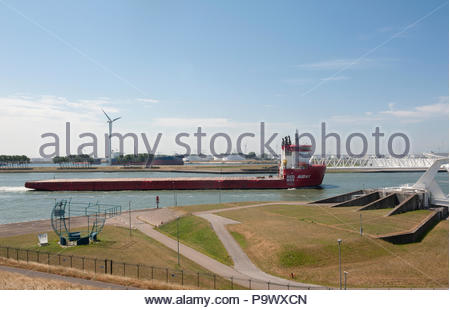 Nr Hoek van Holland The Netherlands Red Box Energy Services ship Audex heavy load carrier without cargo. - Stock Image