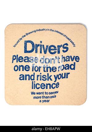 Vintage Beermat Advertising Drinking Driving - Stock Image