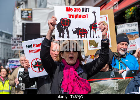 Protesters at a stop trophy hunting and ivory trade protest rally, London, UK. Female with placard - Stock Image