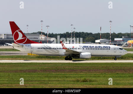 Turkish Airlines Boeing 737 Next Gen at Milan - Malpensa (MXP / LIMC) Italy - Stock Image