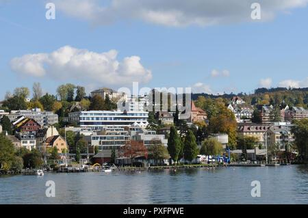 Switzerland: The Lake Police station at Bahnhof Tiefenbrunnen in Zürich-City: - Stock Image