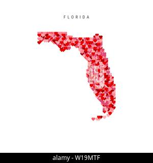 I Love Florida. Red and Pink Hearts Pattern Vector Map of Florida Isolated on White Background. - Stock Image