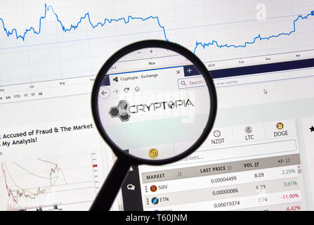 MONTREAL, CANADA - APRIL 26, 2019: Cryptopia cryptocurrency digital assets exchange logo and home page on a laptop screen under magnifying glass. - Stock Image