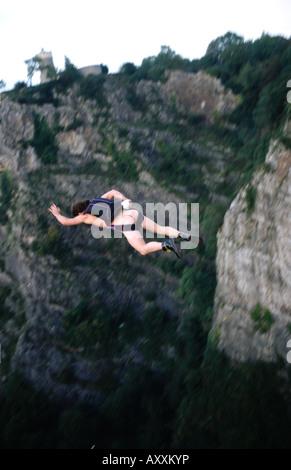 PICTURE CREDIT DOUG BLANE UK Naked BASE 1 BASE Jumping naked off Clifton Suspension Bridge Avon Gorge Great Britain - Stock Image