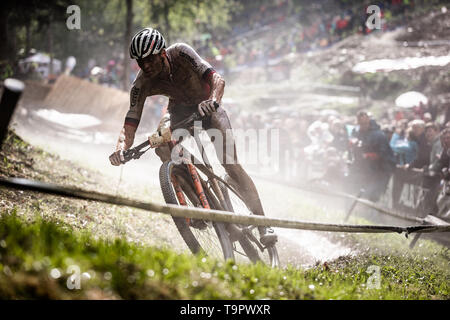 Mathieu van der Poel of Netherlands competes at the XC men race of UCI MTB World Cup in Albstadt, Germany, May 19, 2019. (CTK Photo/Michal Cerveny) - Stock Image