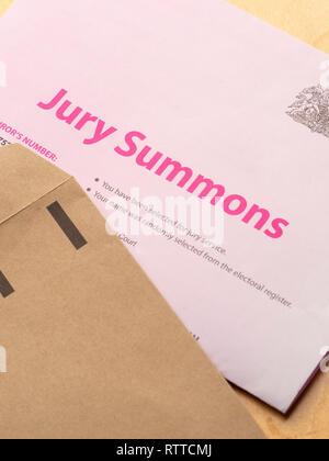 Jury service summons letter. UK - Stock Image