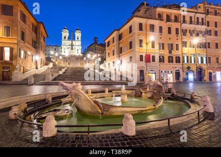 Piazza di Spagna at night, Rome, Italy. - Stock Image
