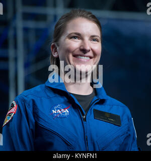29-year-old NASA astronaut candidate Kayla Barron smiles as she is introduced as one of 12 new candidates, Wednesday, - Stock Image