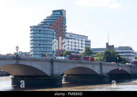 Putney Bridge and Putney Wharf Tower, Putney Wharf, Putney, London Borough of Wandsworth, Greater London, England, United Kingdom - Stock Image