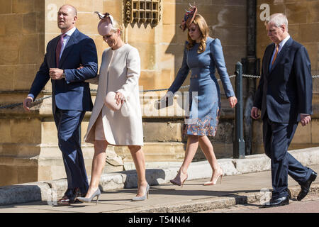 Windsor, UK. 21st April 2019. Mike and Zara Tindall, Princess Beatrice and the Duke of York arrive to attend the Easter Sunday Mattins service at St George's Chapel in Windsor Castle. Credit: Mark Kerrison/Alamy Live News - Stock Image