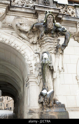 Europe, Germany, Dresden. Statue flanking entrance to Dresden Castle. Credit as: Wendy Kaveney / Jaynes Gallery - Stock Image