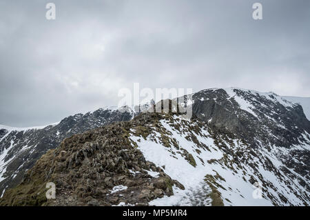 Striding Edge leading up to Helvellyn, Cumbria, UK. - Stock Image