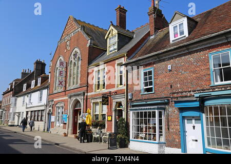 Rex Cinema, Five and Dime Cafe and Antiquates Books, West Street, Wareham, Isle of Purbeck, Dorset, England, Great Britain, United Kingdom, UK, Europe - Stock Image