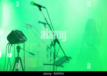 A shot of a stage with several microphones - Stock Image