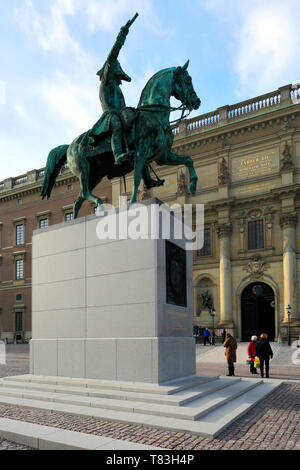 Carl XIV Johan statue outside the Royal Palace, Stockholm City, Sweden, Europe - Stock Image
