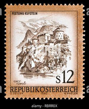 Austrian definitive postage stamp (1980) : Festung Kufstein / Kufstein castle - Stock Image