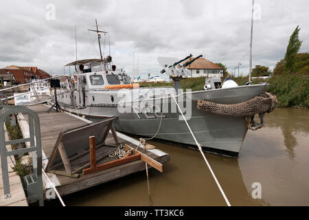 USN P22 (Rhine Maiden)  Gunboat  moored at the Quay, Sandwich Kent - Stock Image