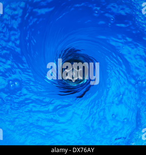 Plug Hole Water with Vortex Effect - Stock Image