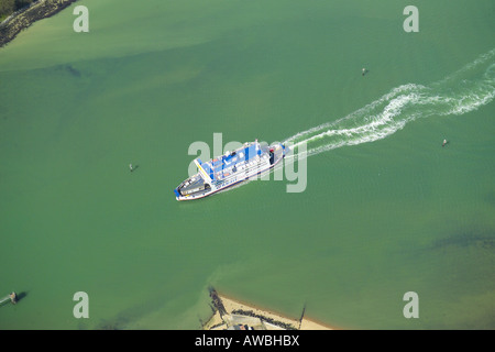 Aerial view of the Wightlink Ferry sailing into Fishbourne Harbour on the Isle of Wight - Stock Image