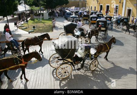 May Day Parade, Plaza de la Constitution, Izamal, Yucatan Peninsular, Mexico - Stock Image