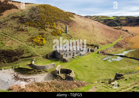 Remains of the old Porcelain works at Porth Llanlleiana on the coastal path. Cemaes, Isle of Anglesey, Wales, UK, Britain - Stock Image