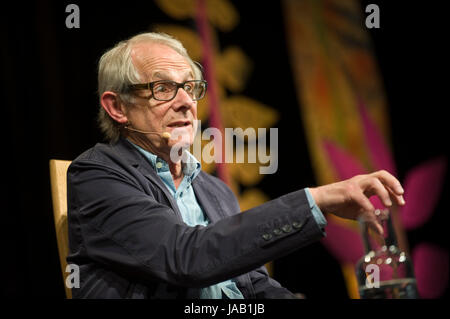 Ken Loach film director speaking about culture, society and his style of social realism on stage at Hay Festival - Stock Image