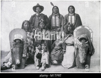 Halftone illustration of a North American Indian chief and his family, tribe unknown, circa 1900. From an original - Stock Image