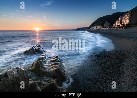 Sunset in Deiva Marina La Spezia Liguria Cinque Terre Italy Landscape Holiday Destination Discover Tourism Location - Stock Image