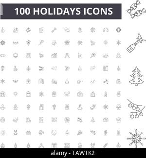 Holidays line icons, signs, vector set, outline illustration concept  - Stock Image