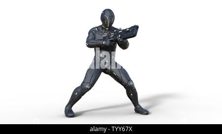 Futuristic android soldier in bulletproof armor vest, military cyborg armed with sci-fi rifle gun shooting on white background, 3D rendering - Stock Image