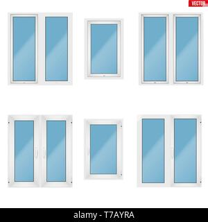 Set of Metal plastic PVC windows. Indoor amd outside view. Presentation of models and frame installation. White color. Sample Vector Illustration isol - Stock Image
