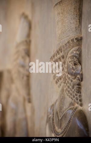 Apadana palace ruins and bas reliefs, Persepolis, Iran. Achaemenid soldiers - Stock Image