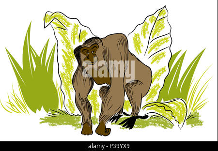 Big gorilla.  illustration of leafs and standing big gorilla in the jungle. - Stock Image