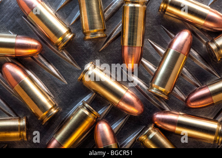 9mm cartridges - Stock Image