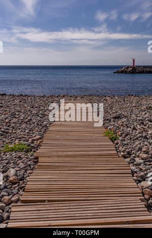 Wooden boardwalk at Puerto de Aldea, Gran Canaria, Canary Islands - Stock Image