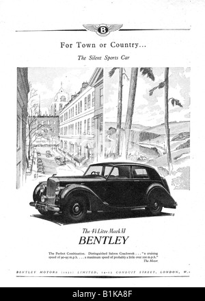 1948 advertisement for the Bentley Mark II Sports Motor Car FOR EDITORIAL USE ONLY - Stock Image