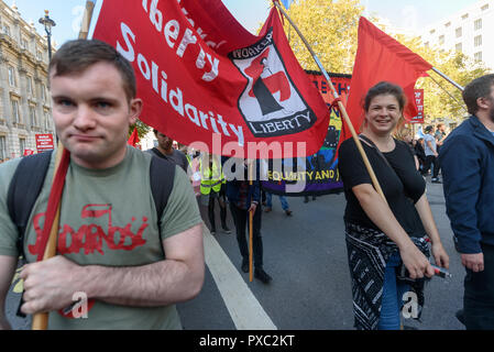 London, UK. 20th October 2018. People carry the 'Worker's Liberty' banner down Whitehall at the end of the People's Vote March calling for a vote to give the final say on the Brexit deal or failure to get a deal. They say the new evidence which has come out since the referendum makes it essential to get a new mandate from the people to leave the EU. With so many on the march the crowding meant many failed to reach Parliament Square and came to a halt in Whitehall. Peter Marshall/Alamy Live News - Stock Image