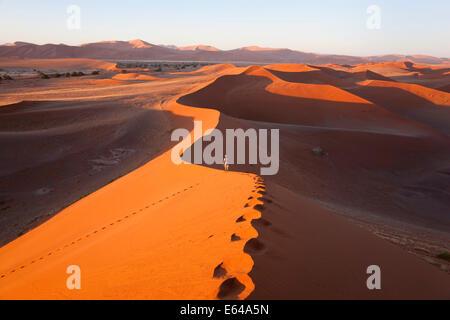 Middle aged man climbing sand dunes, Namib Naukluft National Park, Namibia - Stock Image
