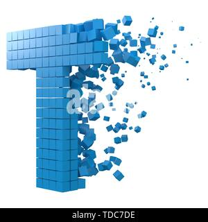 letter T shaped data block. version with blue cubes. 3d pixel style vector illustration. suitable for blockchain, technology, computer and abstract th - Stock Image