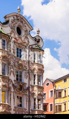 FRONT OF HELBINGHAUS BUILDING, BAROQUE STYLE, HERZOG-FRIEDRICH-STRASSE, OLD TOWN, INNSBRUCK, TYROL, AUSTRIA - Stock Image