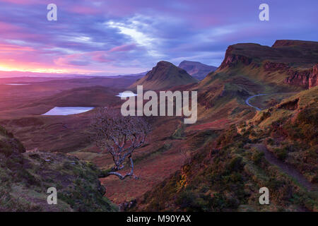 Dramatic dawn light at the Quiraing on the Isle of Skye, Scotland. Autumn (October) 2017. - Stock Image