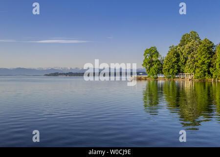 Lake Starnberg in Tutzing, Bavaria, Germany - Stock Image